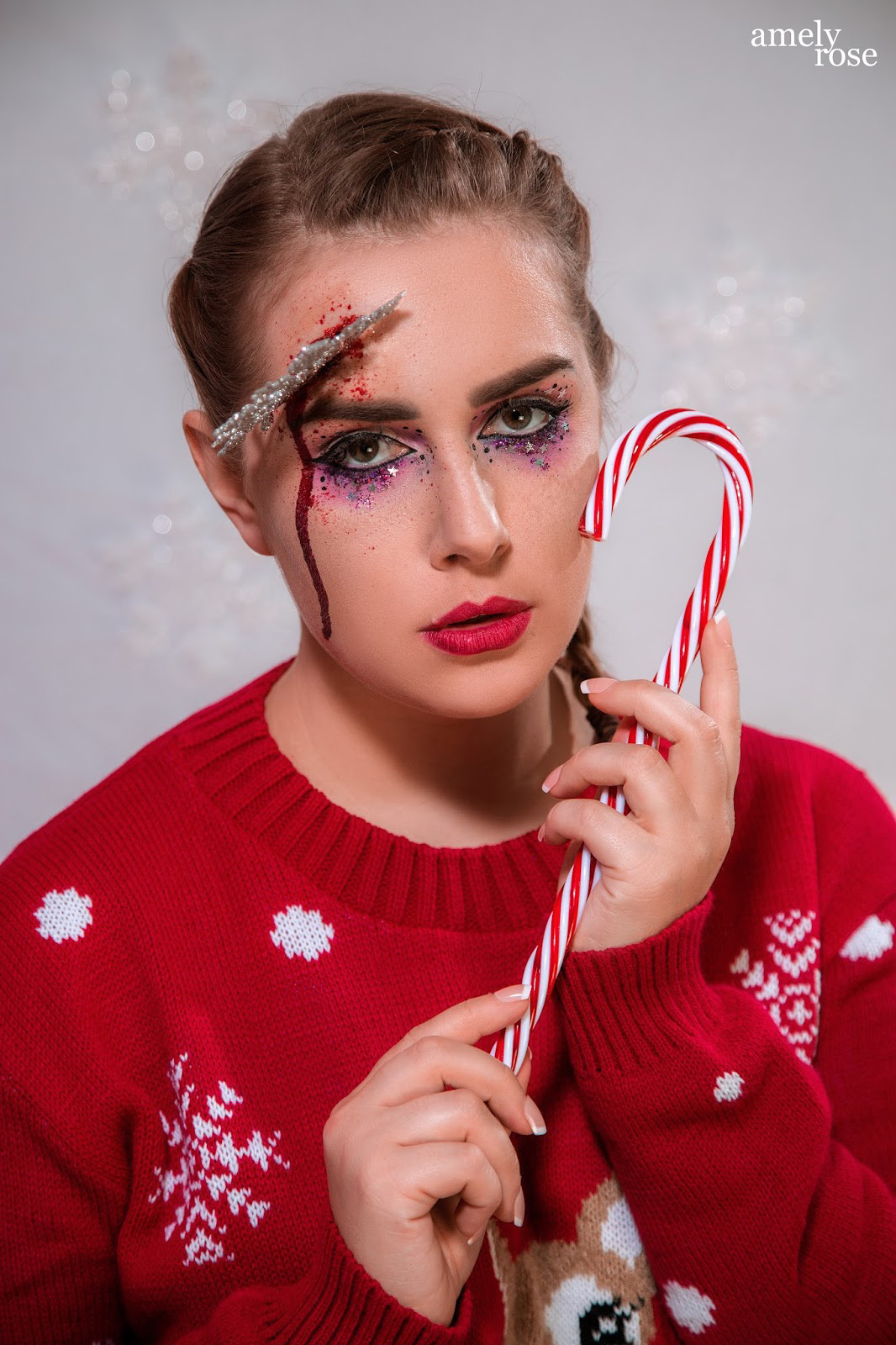 Amely Rose, german influencer und deutscher fashionblog christmas makeup tutorial horror sfx