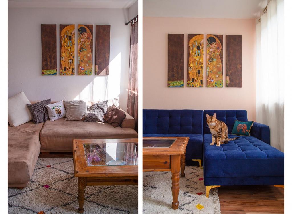 schöner wohnen,s choener wohnen, schönerwohnen farbe, schoener wohnen farbe, wohnzimmer, interior, interiorinspo, interiordesign, samtcouch, samt couch, samt sofa, blaue couch, royal blue, cat, katze, kitten, kitty, bengalkatze, amely rose, living room, umgestalten, wand streichen, room make over, amely rose, interiorlover, renovieren renovierungs tipps, wohnzimmer update, roommakeover,